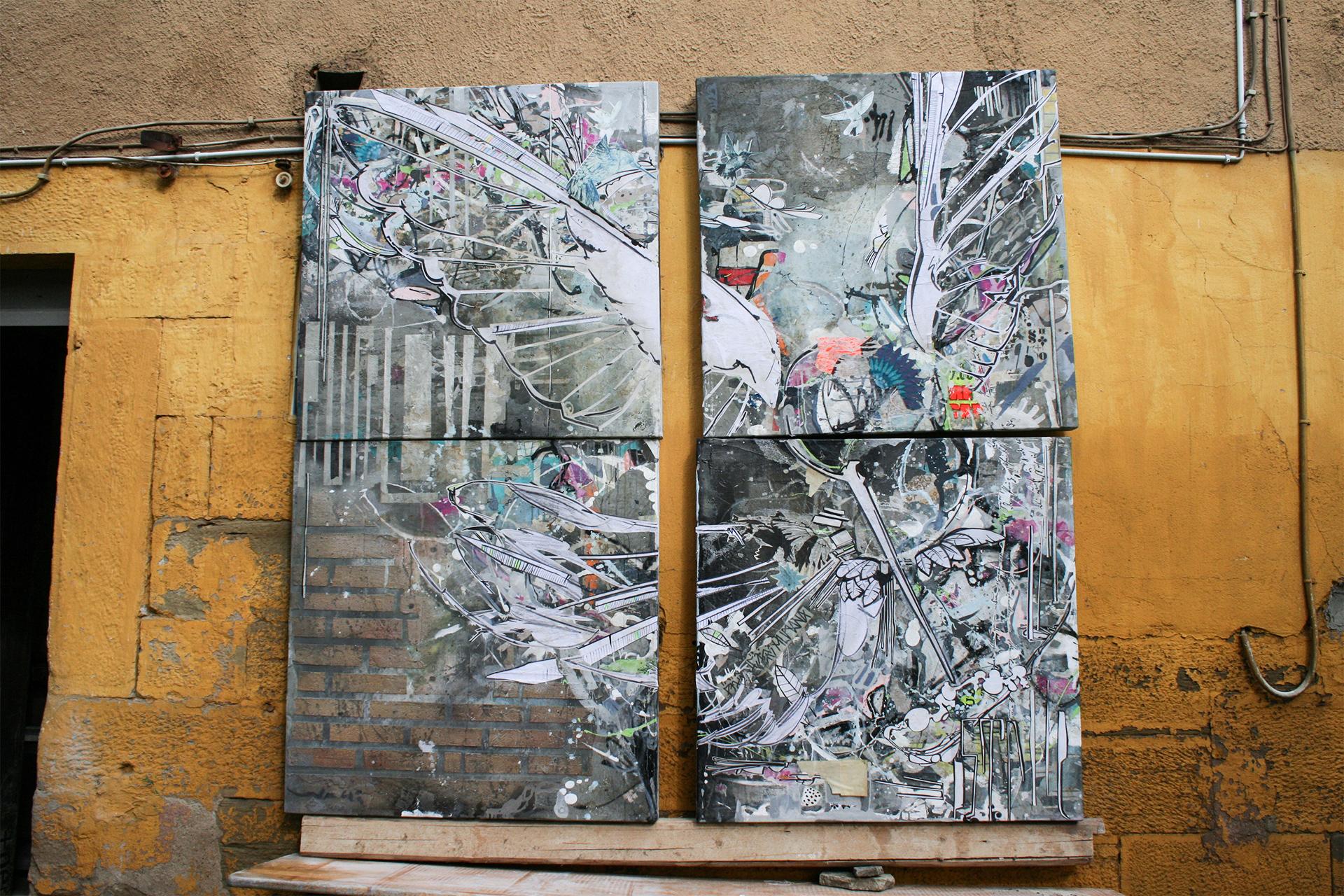 5_gemaelde_paintings_grey_wall
