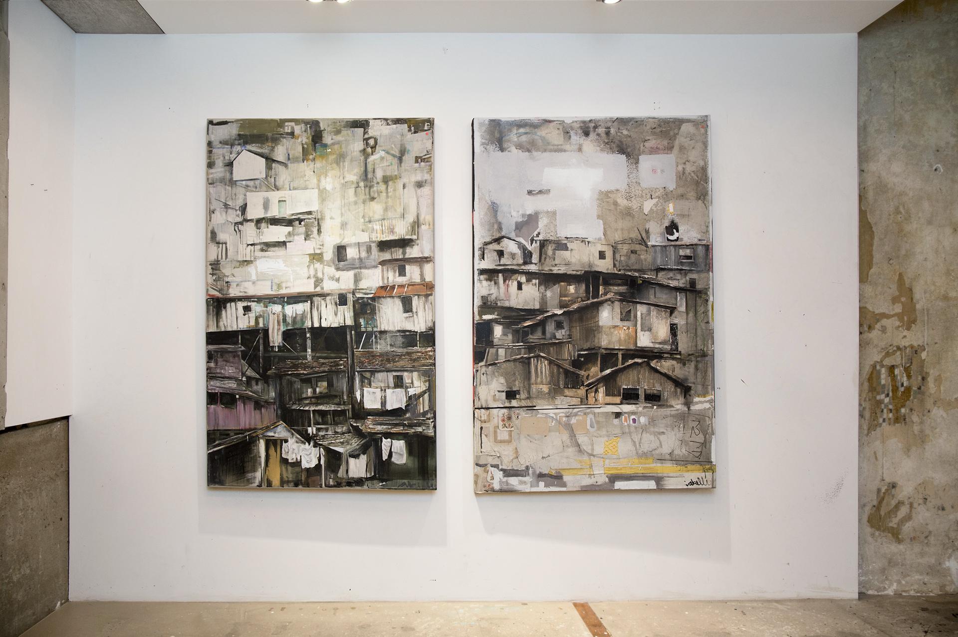 5_gemaelde_paintings_white_wall